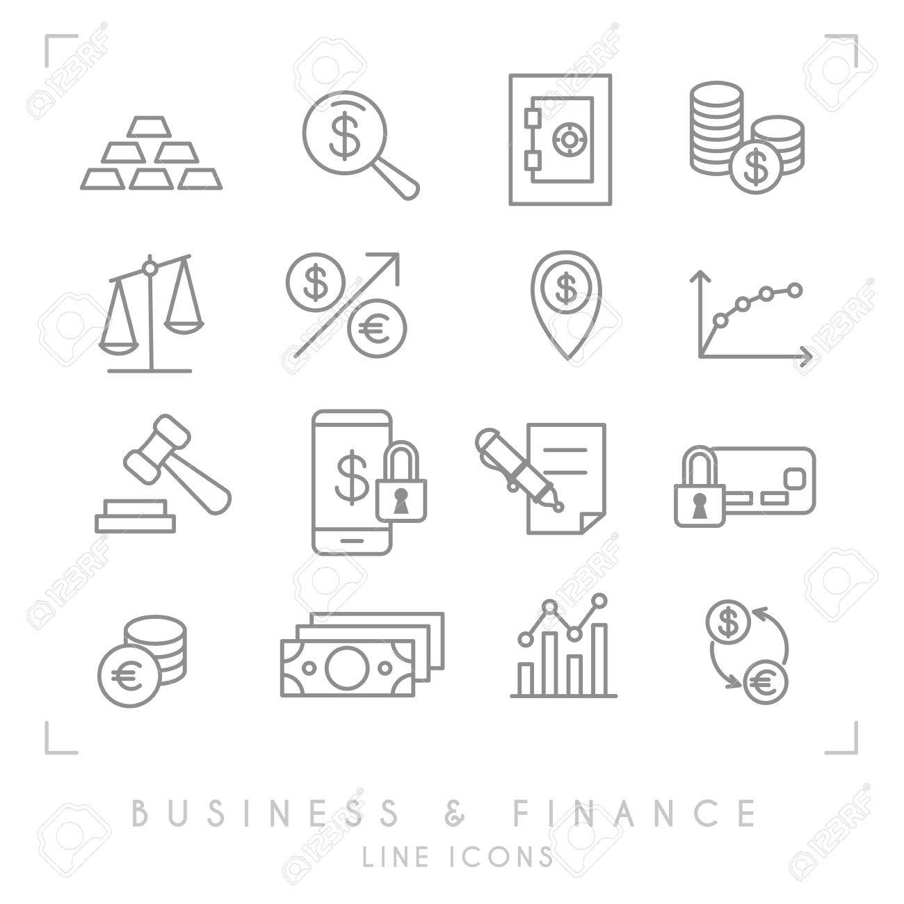 1300x1300 Set Of Line Thin Business And Financial Icons. Gold, Graph, Safe