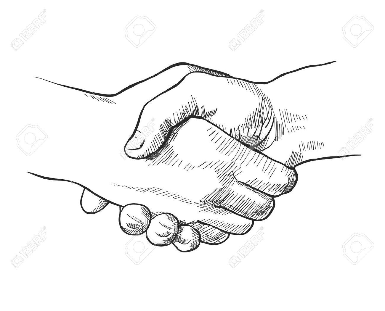 1300x1051 Hand Drawn Sketch Illustration Of A Handshake Royalty Free