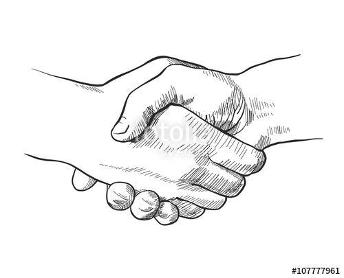 500x405 Hand Drawn Sketch Illustration Of A Handshake Stock Image