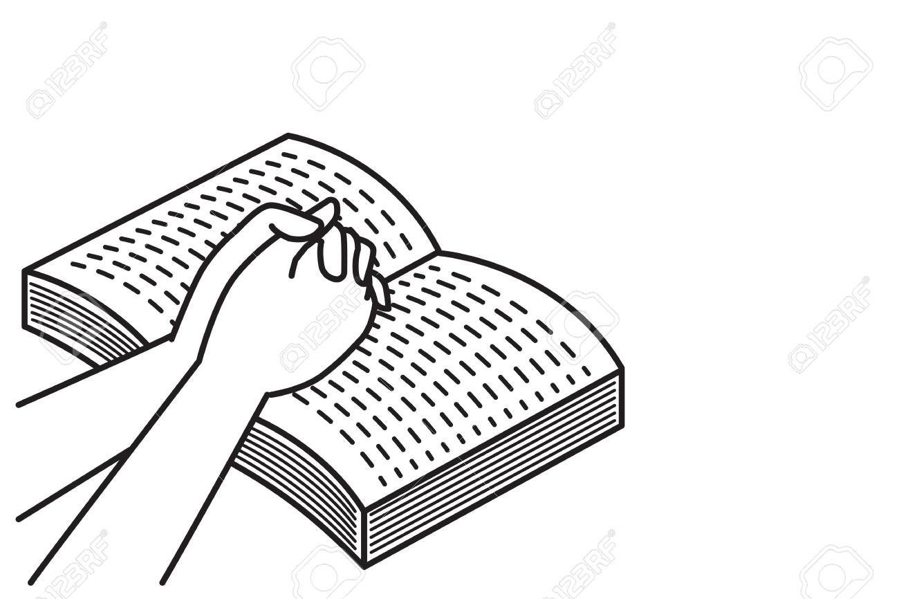 1300x866 Hands Holding, Praying On Open Bible Book. Vector Illustration