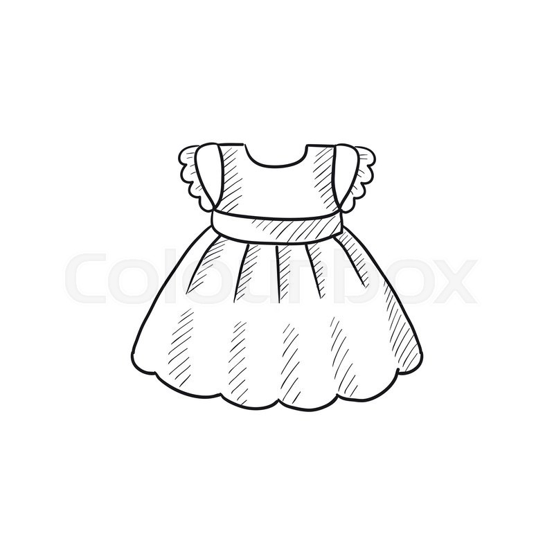 800x800 Baby Dress Vector Sketch Icon Isolated On Background. Hand Drawn