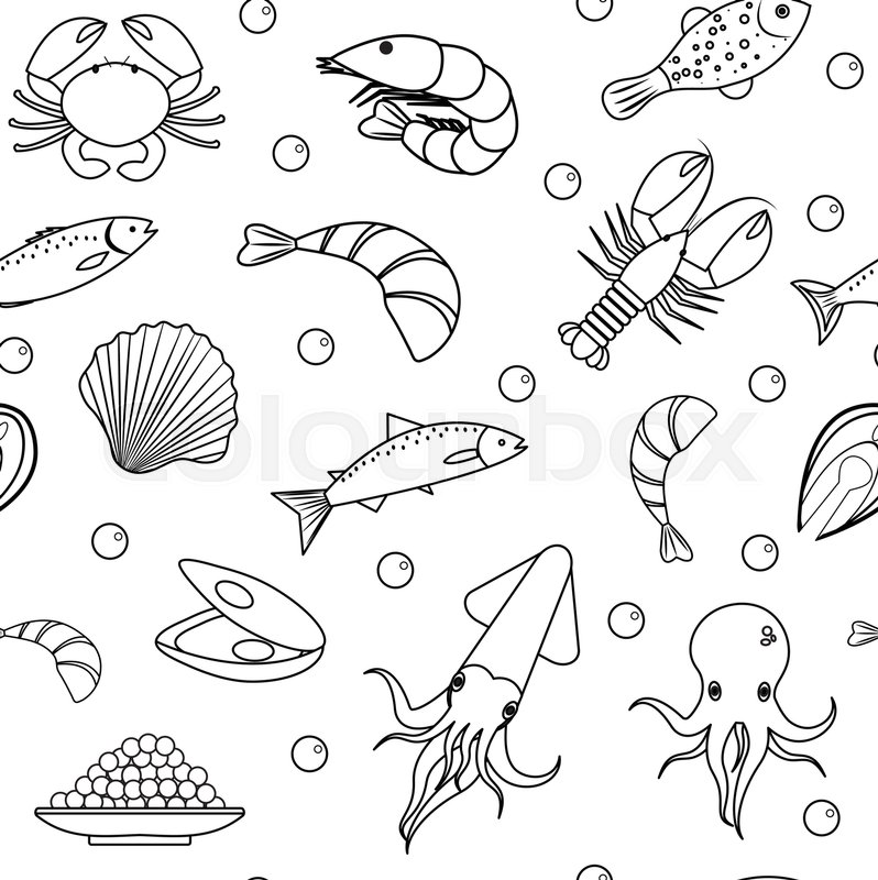798x800 Sea Life Seamless Pattern. Seafood Seamless Pattern. Underwater