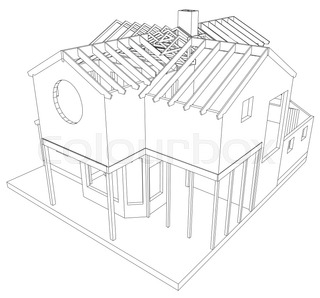 320x298 House Structure Architecture. Abstract Drawing. Tracing