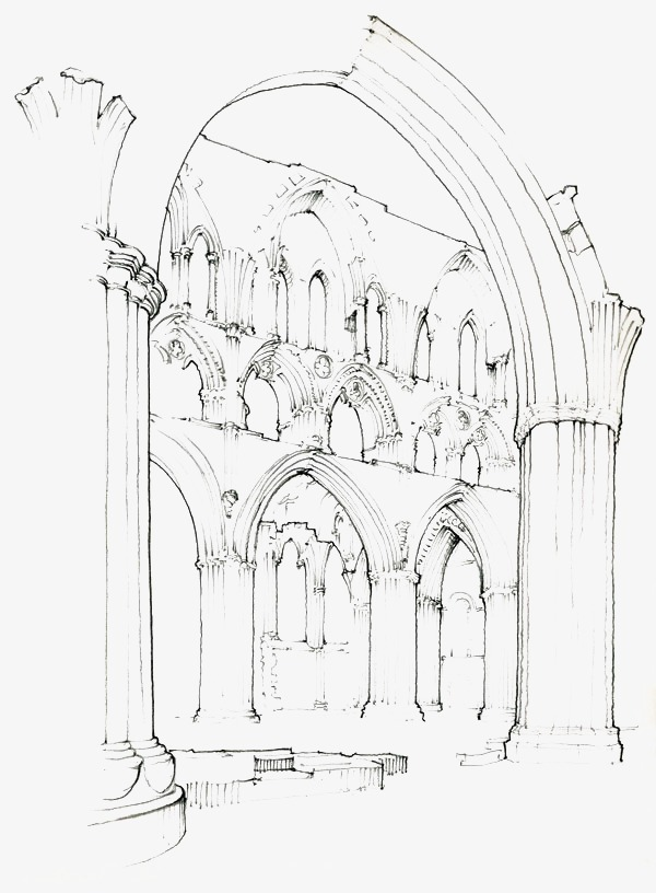 600x816 Architectural Sketches, Building, Hand Painted, Line Drawing Png