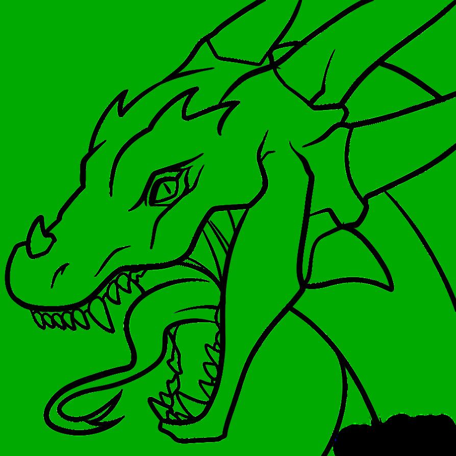894x894 Dragon Head Transparent Lineart By Dawnieda