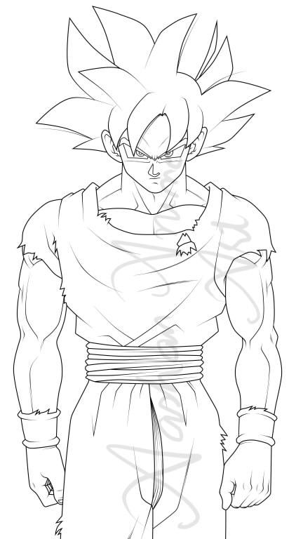 422x768 Goku Ultra Instinct Line Art By Aashananimeart