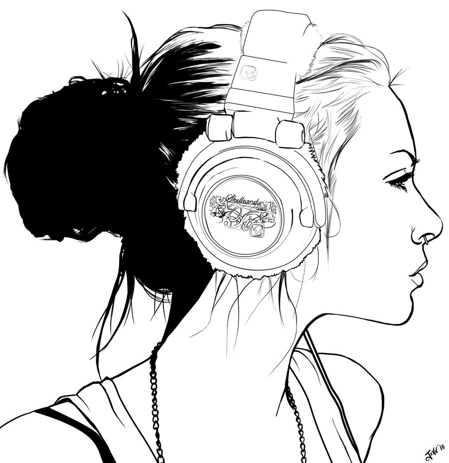 900x929 Headphone Punk Lineart By Foxvanity