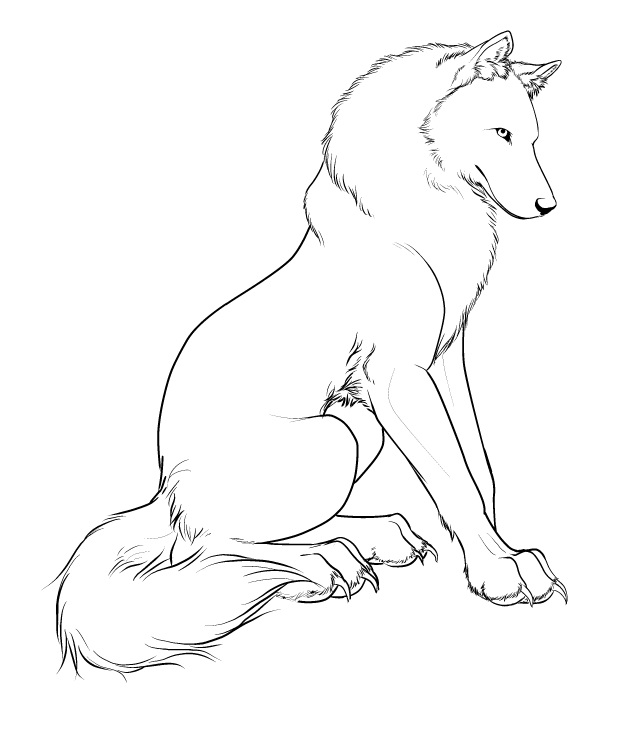635x739 Wolf Character Design Lineart By Crimsonwolfsobo