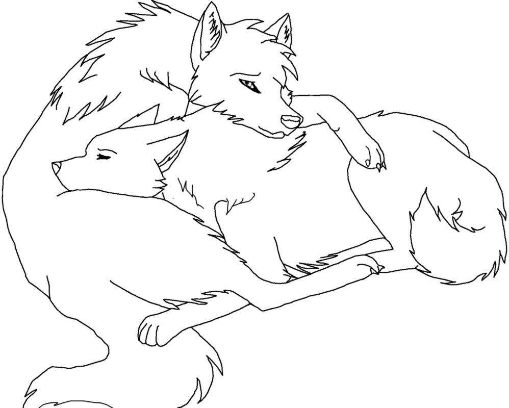 998x800 Wolf Cuddle Lineart (Paint Friendly) By Rikkuwolfsbane