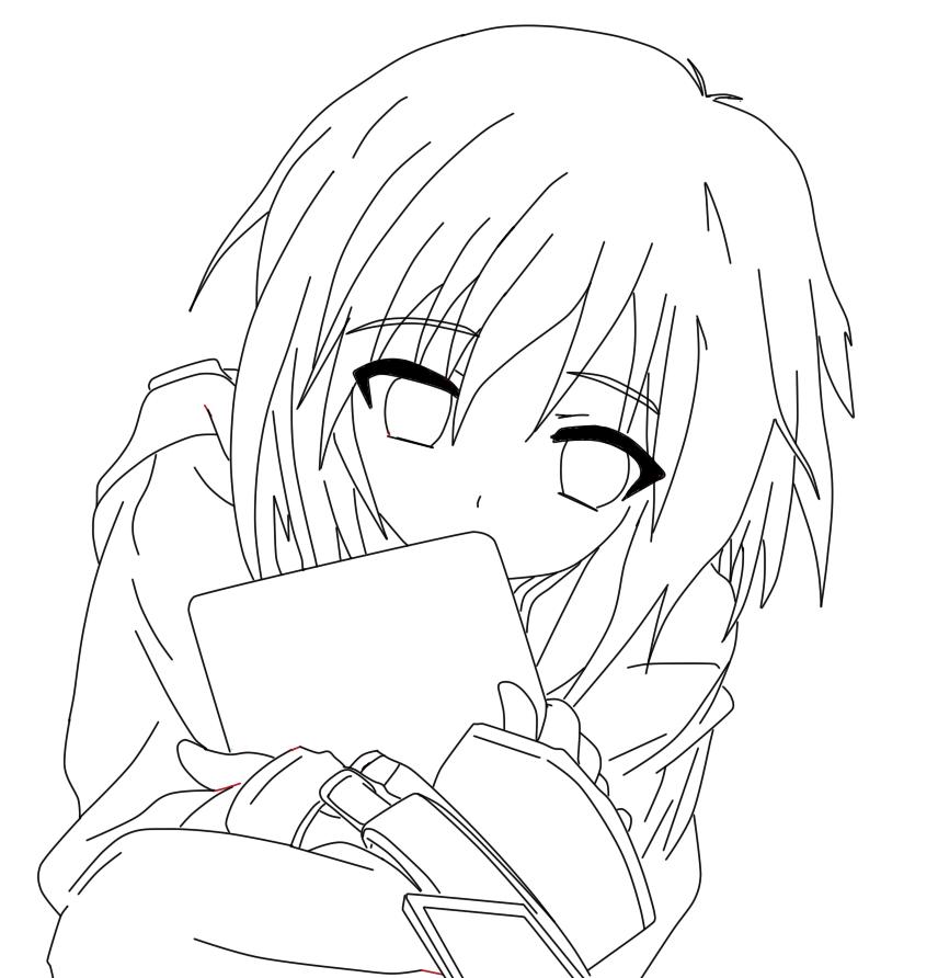 856x892 Cute Anime Girl Line Art By Dancinpencil