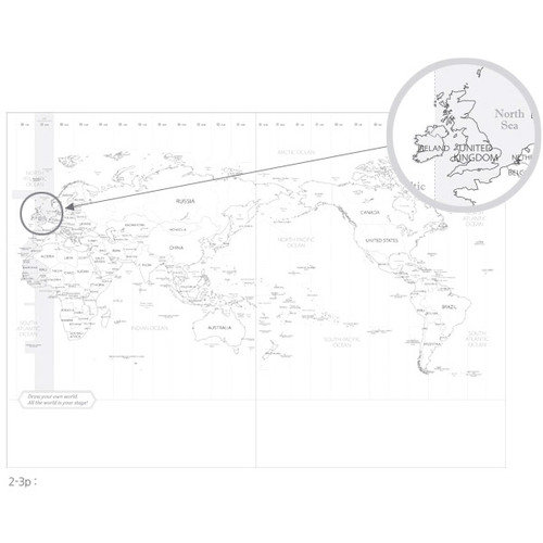 500x500 Indigo World Map Decorative Lined Notebook