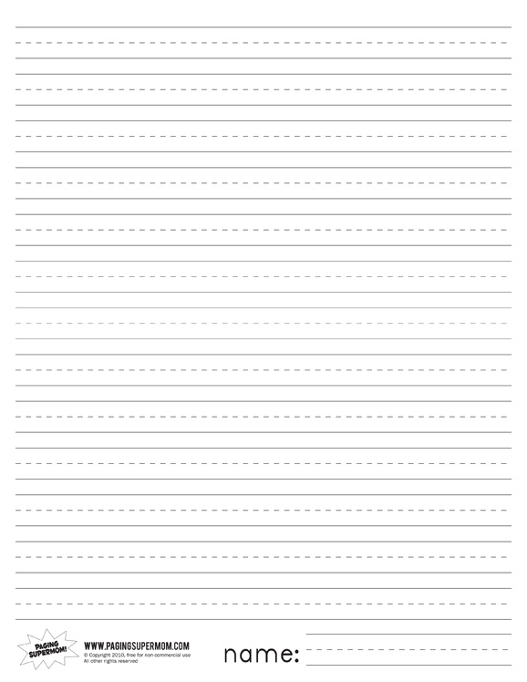 578x748 Printable Primary Lined Paper