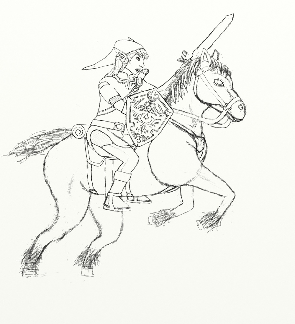 zelda twilight princess coloring pages - link and zelda drawing at free for