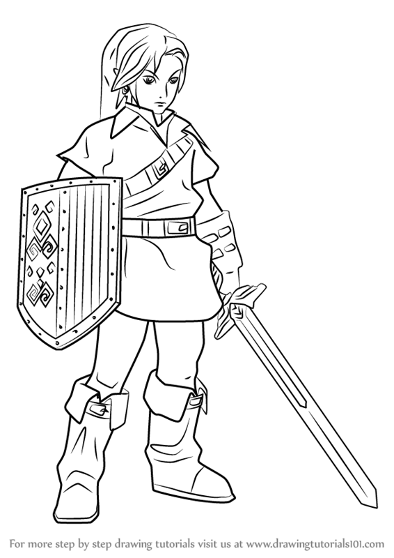 566x800 Learn How To Draw Link From Hyrule Warriors (Hyrule Warriors) Step