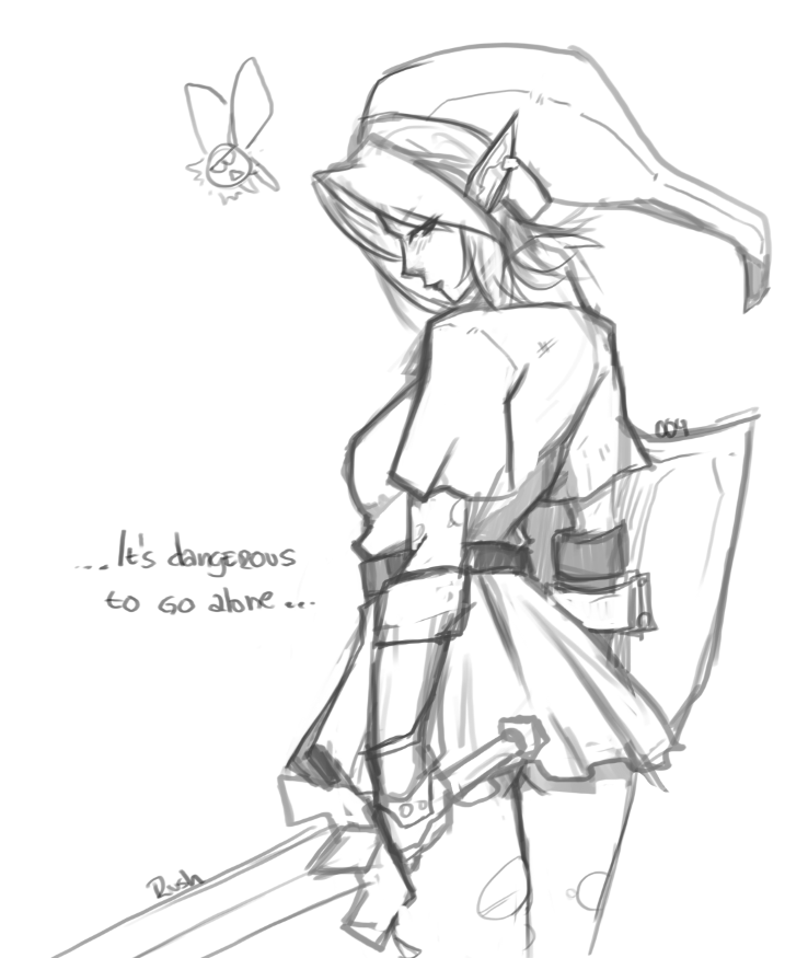738x875 Sketch A Day 004 Girl Link By Rushzilla