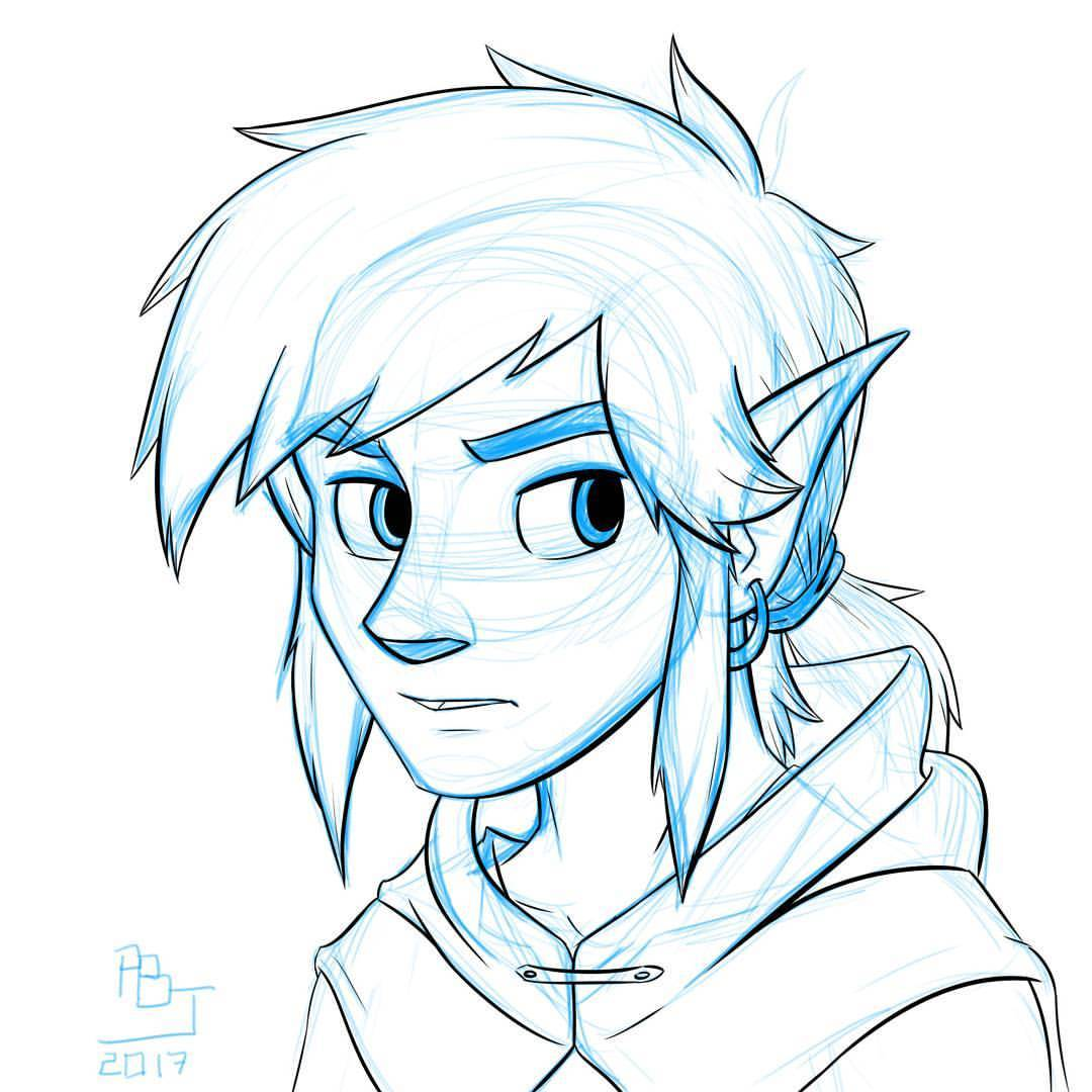 1080x1080 Stretching With Sketching Link Wearing A Magical Sheikah Tunic