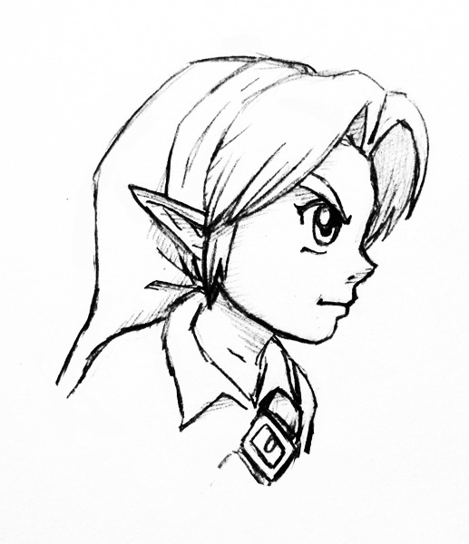 517x600 Young Link Profile Sketch By Left Handed Knight