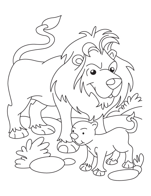 612x792 Lion Cub Coloring Pages Lion And Cub Coloring Page Download Free
