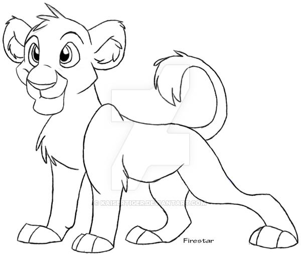 600x508 Lion Cub Lineart By Kaisertiger
