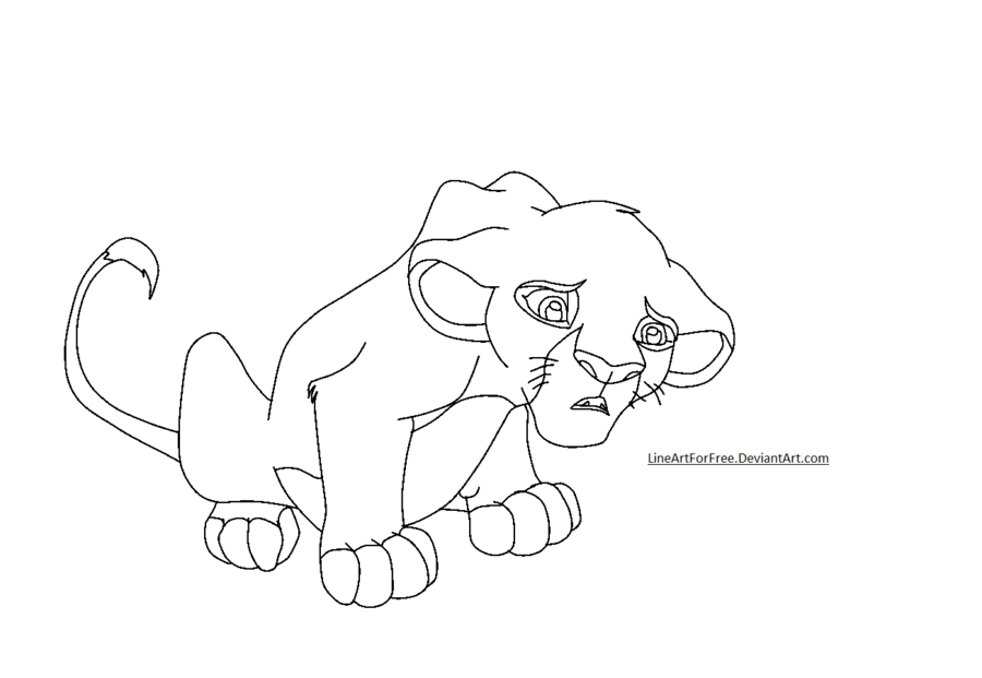 900x621 Lion King Base 7 Disappointed Cub By Lineartforfree