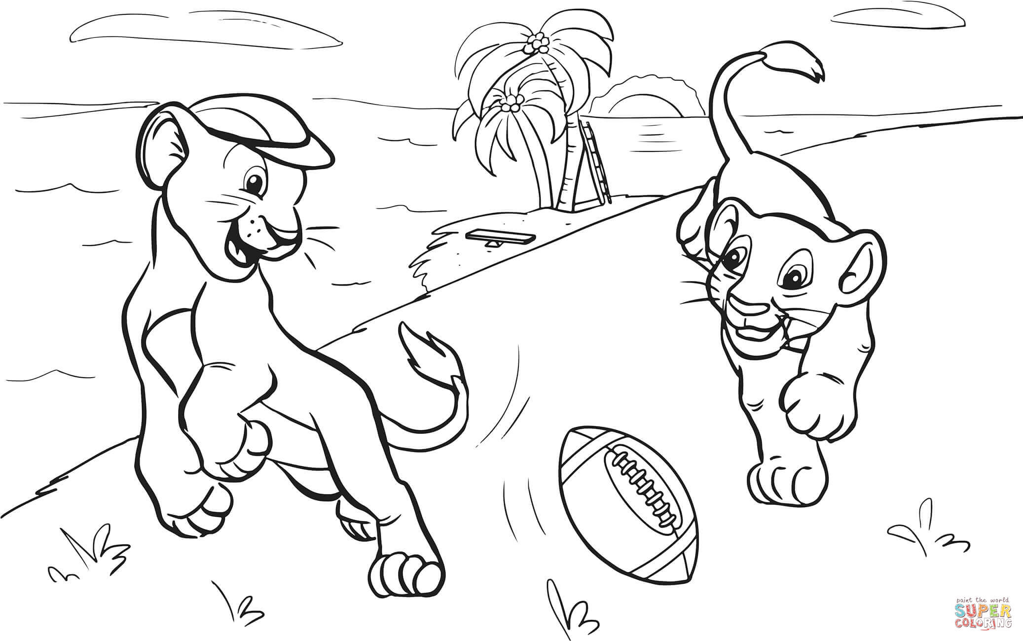 2074x1300 Lions Cubs Playing American Football Coloring Page Free