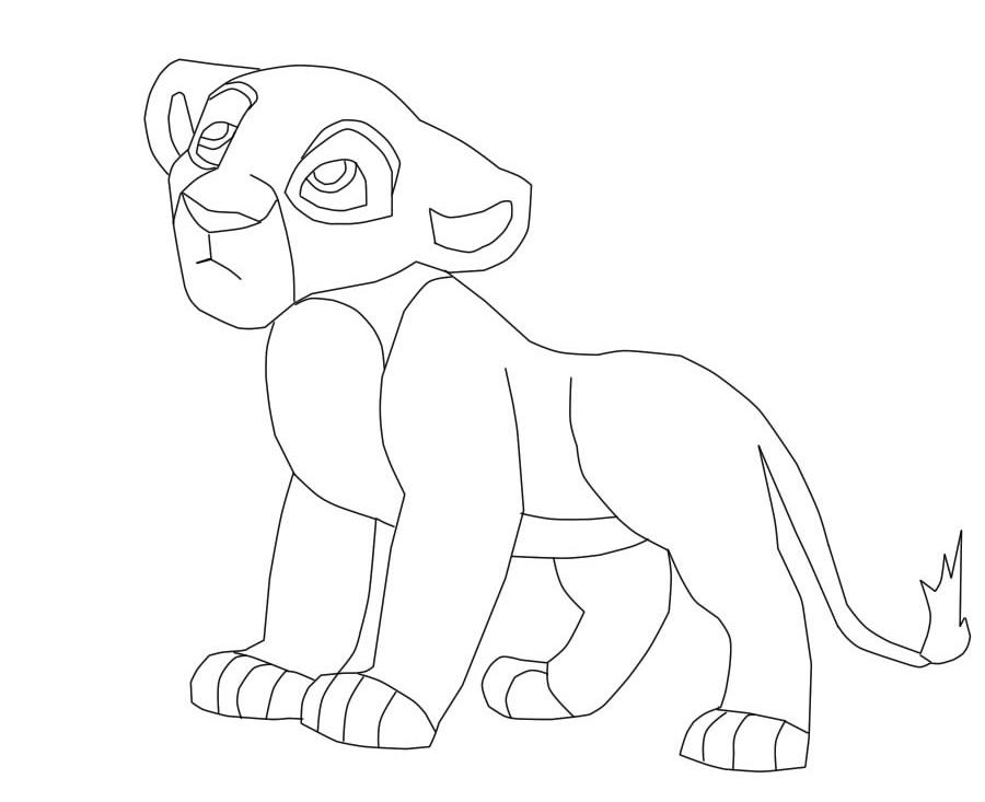 900x733 The Lion King Female Cub Lineart By Saberkiara