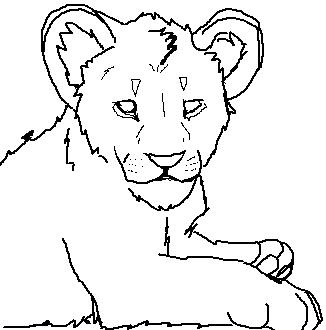 326x330 Lion Cub Lineart By Gruvu