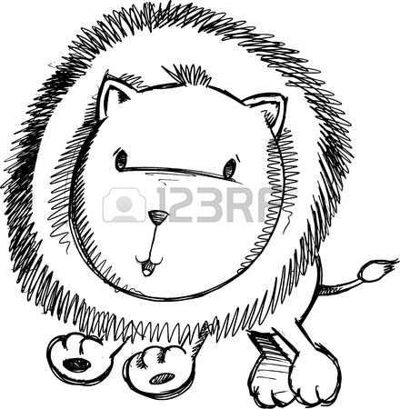 440x450 Cute Lion Cub Sketch Doodle Vector Art Royalty Free Cliparts