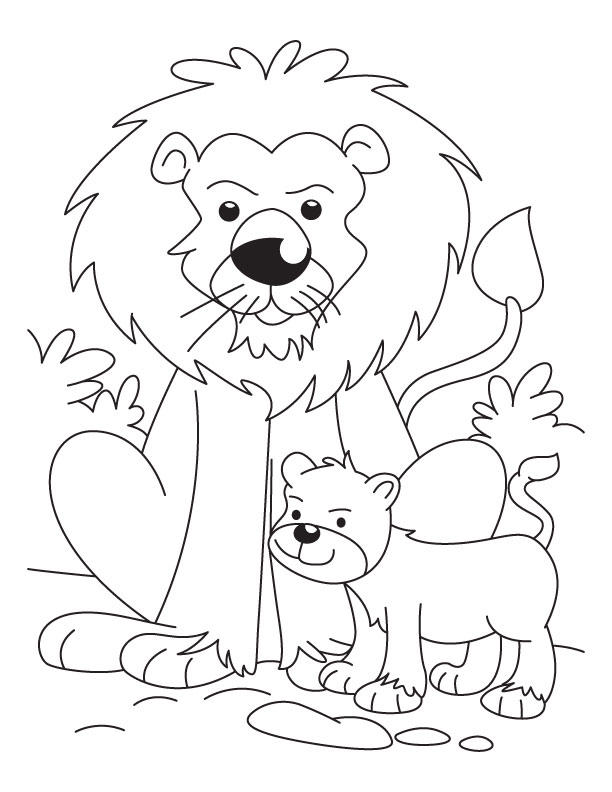 612x792 Lion With A Cub Coloring Pages Download Free Lion With A Cub