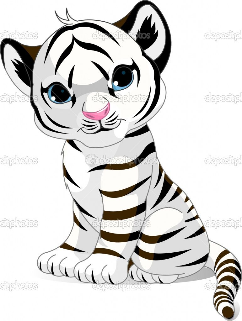 771x1024 Tiger cub coloring pages Cute White Tiger Cub Stock Vector