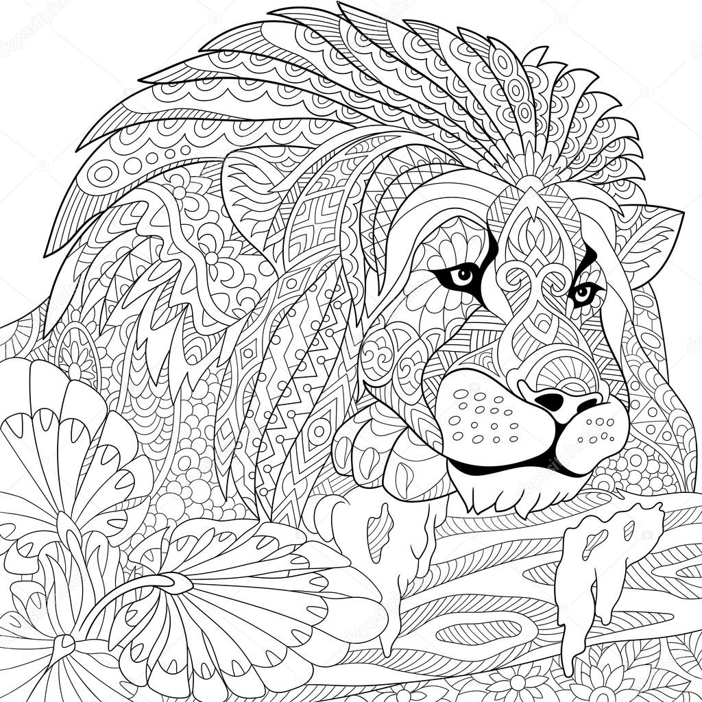 1024x1024 Zentangle Stylized Lion Stock Vector Sybirko