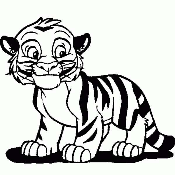 600x600 Cartoon Tiger Drawing Cute Tiger Cub In Cartoon Coloring Page