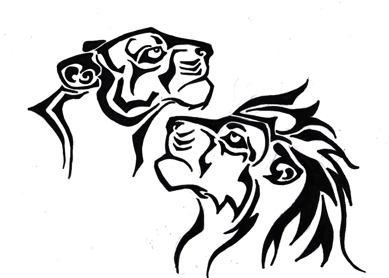 Line Drawing Of Lion : Lion and lioness drawing at getdrawings free for personal