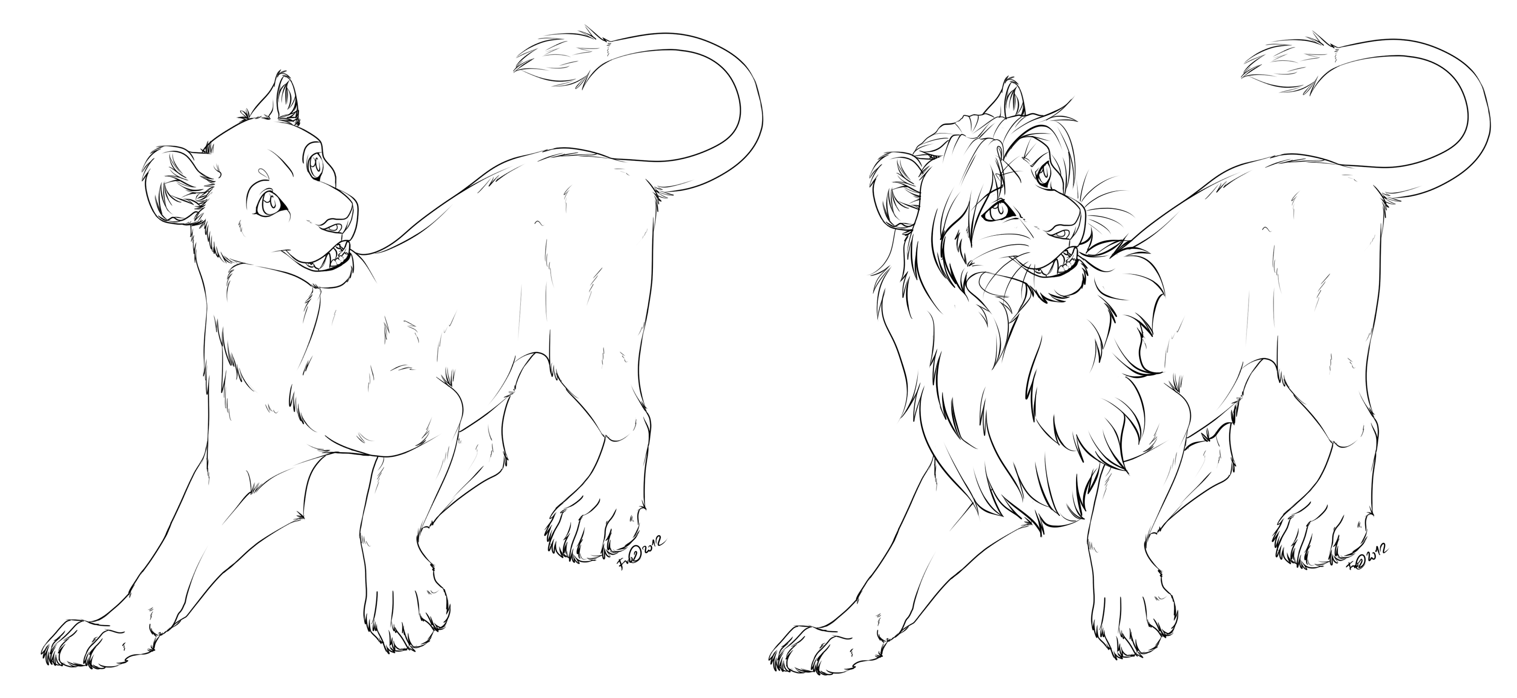 3000x1380 Lioness Lion Free Lineart By Afrozenheart
