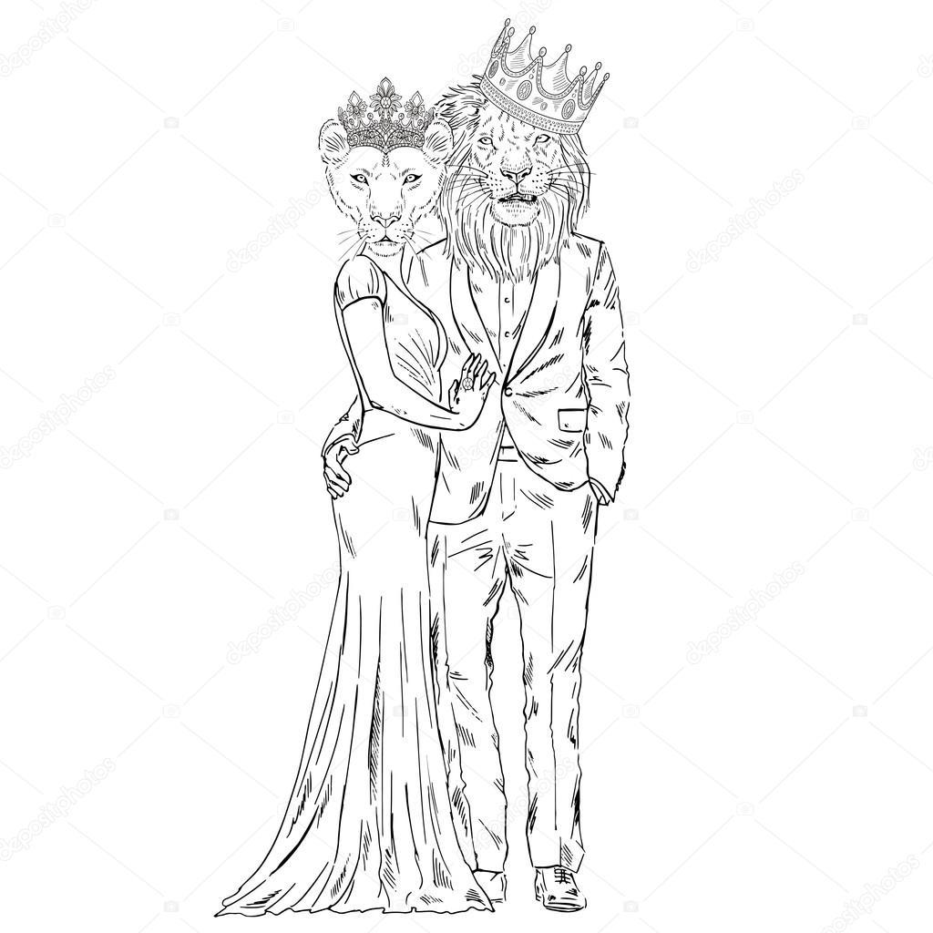 1024x1024 Royal Couple Of Lion And Lioness Stock Vector Olga.angelloz