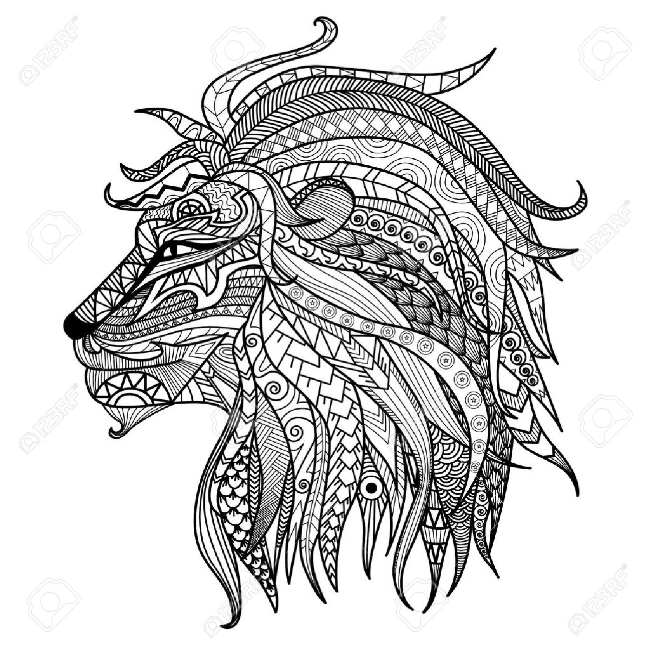 1300x1300 Hand Drawn Lion Coloring Page. Royalty Free Cliparts, Vectors,
