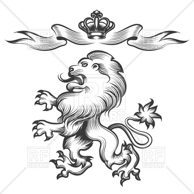 400x400 Hand Drawn Heraldic Lion Sketch With Crown Royalty Free Vector
