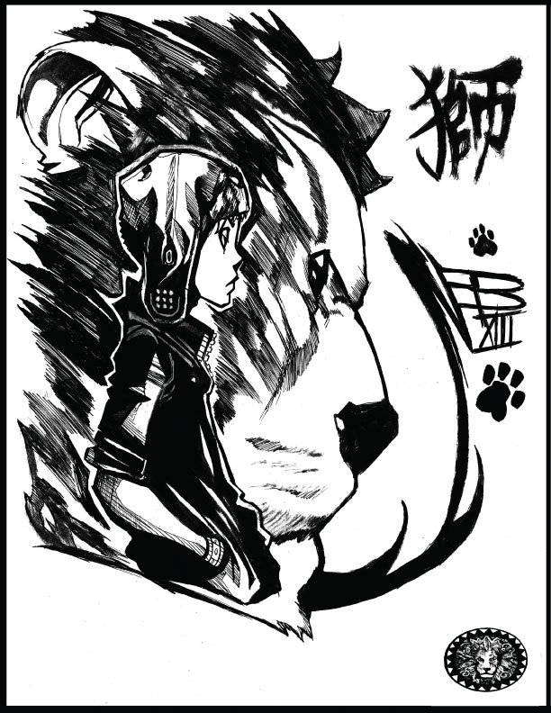 612x792 Lackadaisical Lion Brush Pen Sketch By Nikolasdraperivey