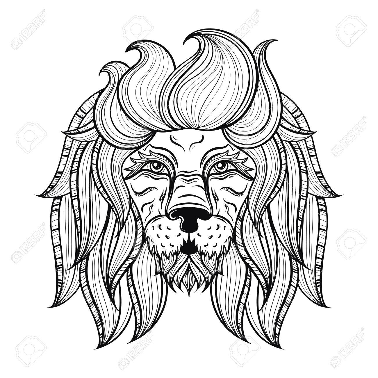 1300x1300 Vector Ornamental Lion, Ethnic Patterned Head. Hand Drawn Bohemian