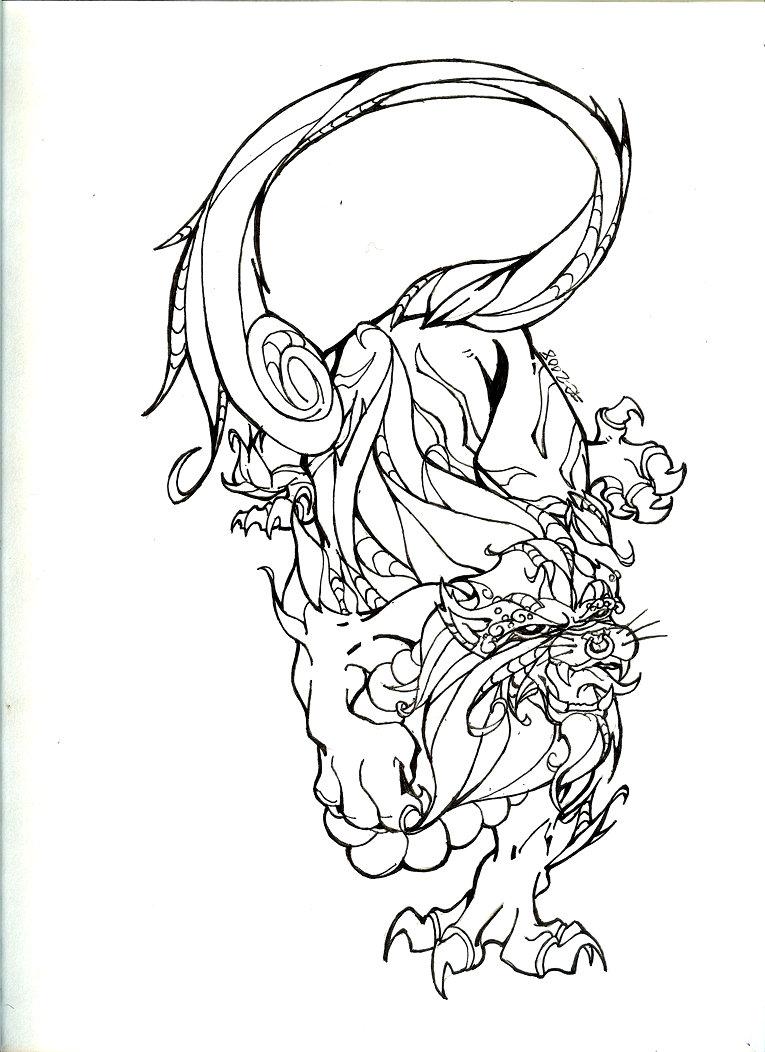 765x1052 Fu Lion Ink By Iiixmisfitxiii