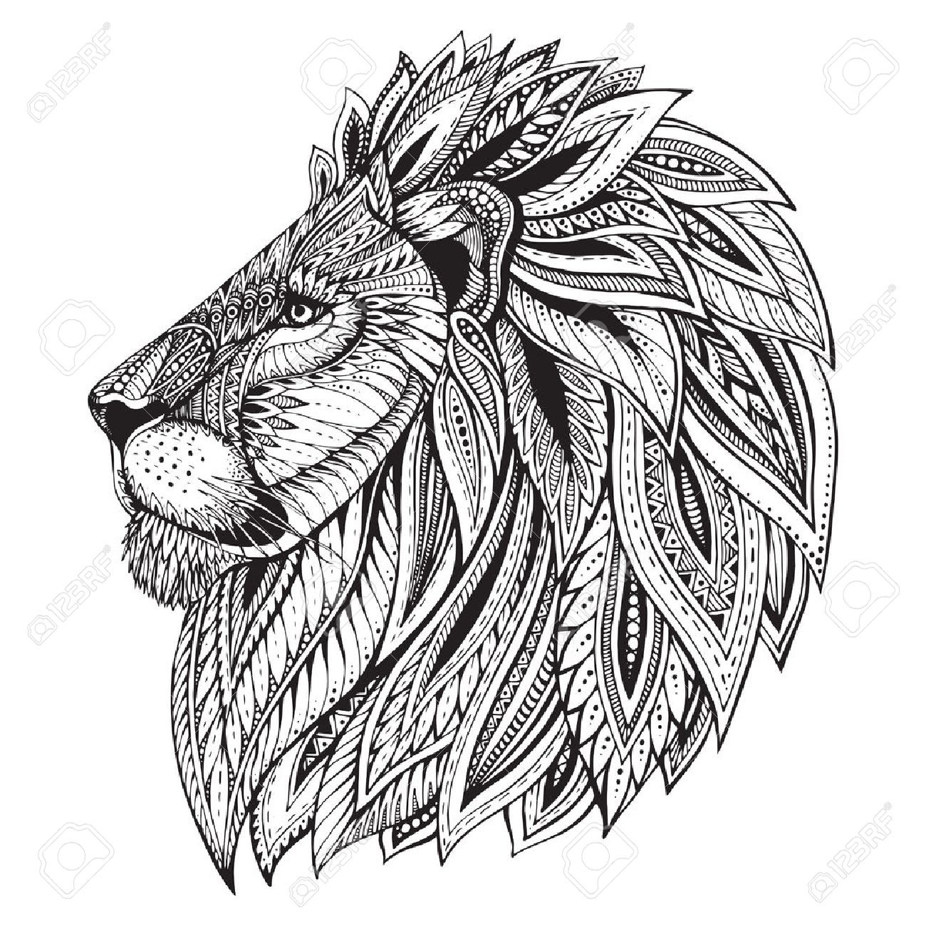 1300x1300 Ethnic Patterned Ornate Head Of Lion. Black And White Doodle