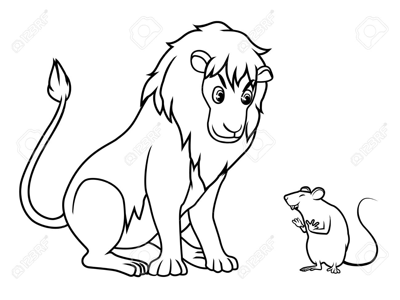 1300x976 Lion And Rat Drawing Cartoon Vector Royalty Free Cliparts, Vectors