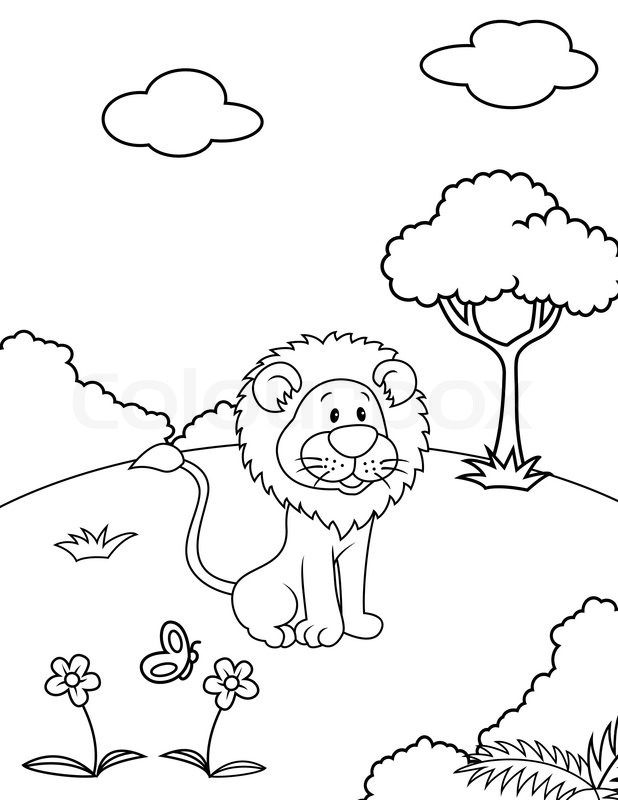 618x800 Lion Cartoon Stock Vector Colourbox