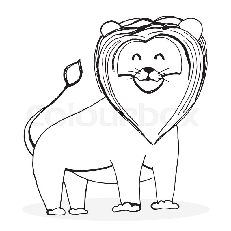 800x800 Sketch Lion Character. Lion Drawing And Animal Sketch, Hand Drawn