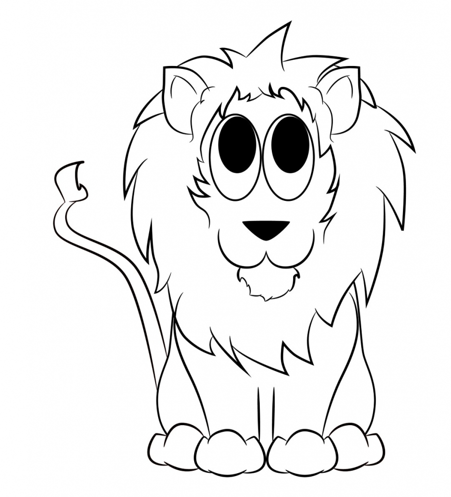 929x1024 Cartoon Drawing Of Lion Cartoon Drawings Of Lions Drawing Artisan