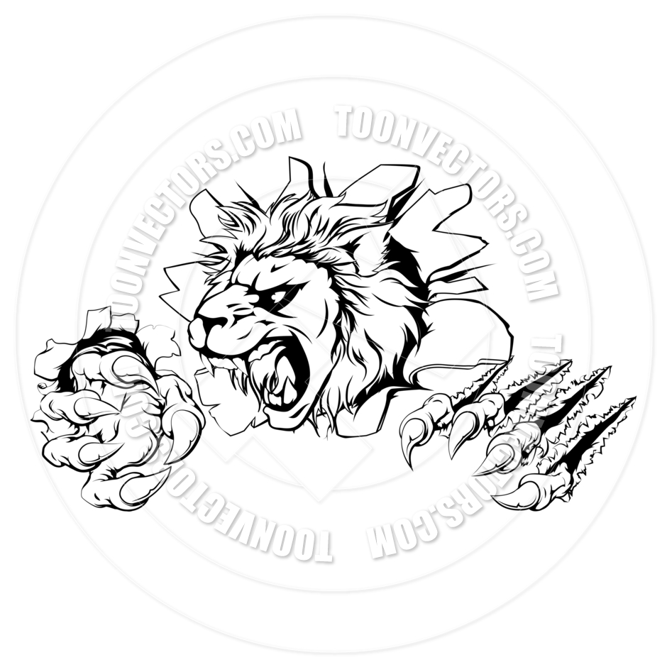 940x940 Lion Clawing Through Wall By Geoimages Toon Vectors Eps