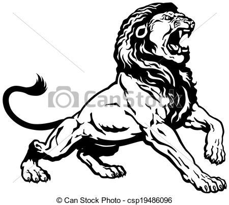 450x404 Lion Attack Vector Clipart Illustrations. 322 Lion Attack Clip Art