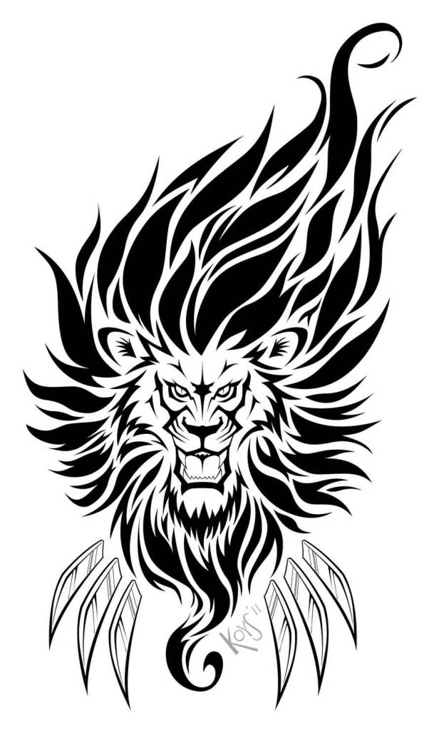 623x1024 Awesome Lion Tattoo Design With Claw