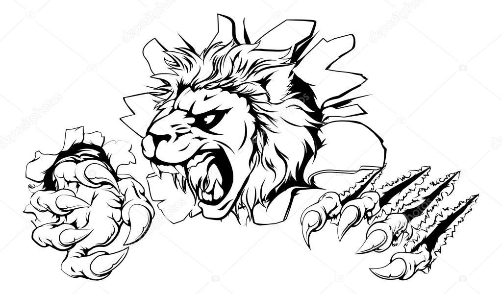 1024x600 Lion Clawing Through Wall Stock Vector Krisdog