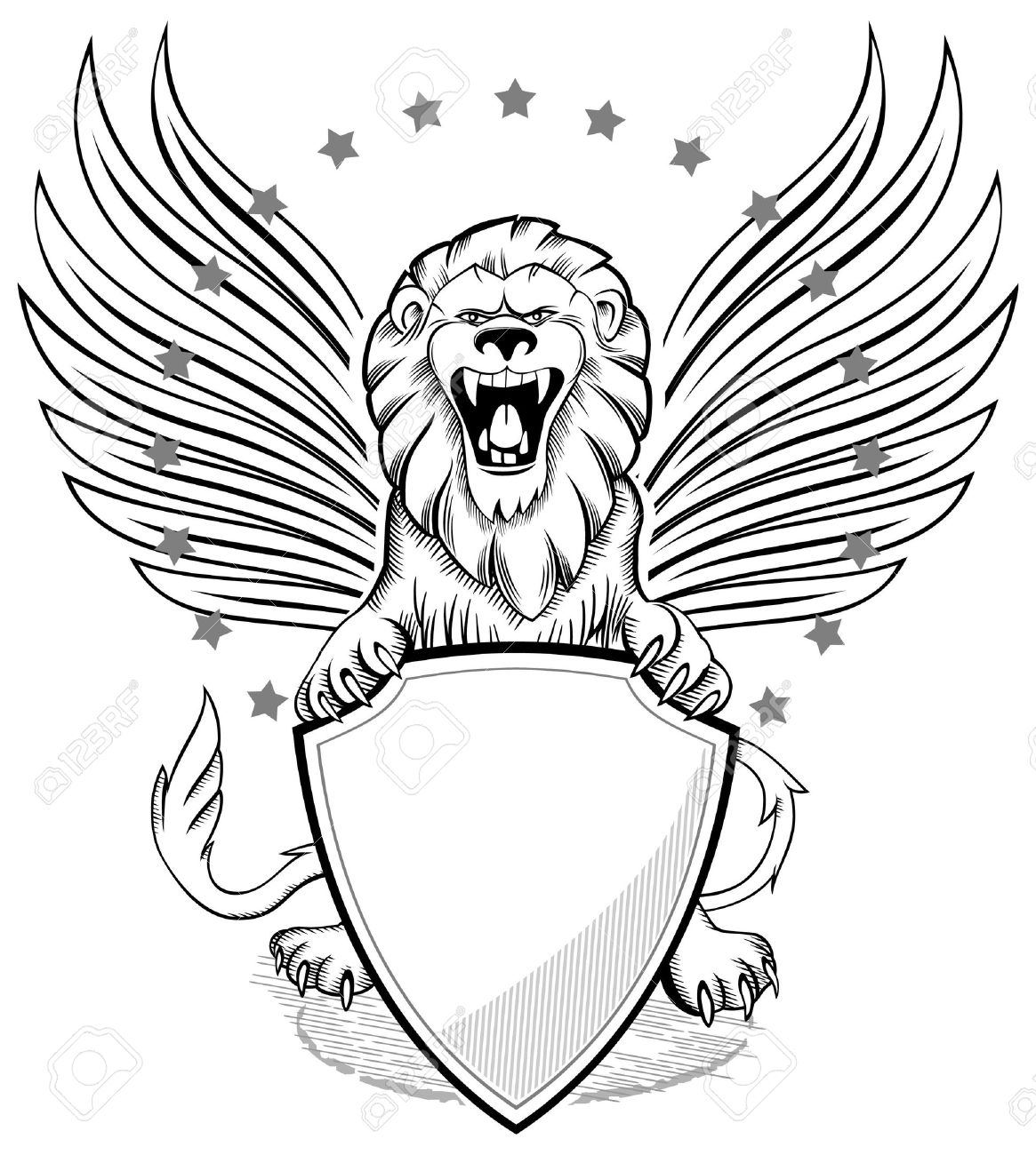 1165x1300 Roaring Winged Lion With Shield Insignia Royalty Free Cliparts